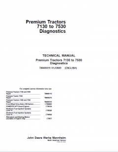 repair manuals John Deere Premium Tractors 7130-7530 Diagnostics TM400019 Technical Manual PDF