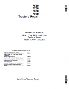 repair manuals John Deere Tractors 7630, 7730, 7830, 7930 Repair TM2266 PDF