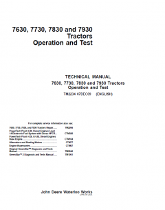 repair manuals John Deere Tractors 7630, 7730, 7830, 7930 Operation & Test TM2234 PDF