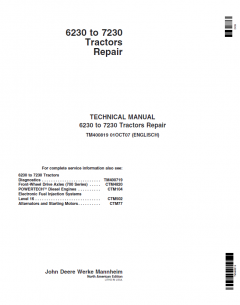 repair manuals John Deere Tractors 6230-7230 Repair TM400819 Technical Manual PDF