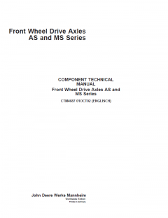 repair manuals John Deere Front Wheel Drive Axles AS, MS Series CTM4687 PDF