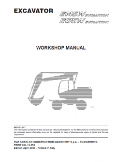 repair manuals Fiat Kobelco E145W, E175W Evolution Excavator Workshop Manual PDF