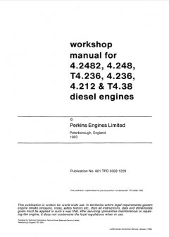 repair manuals Perkins 4.2482, 4.248, T4.236, 4.236, 4.212, T4.38 Diesel Engines Workshop Manual PDF