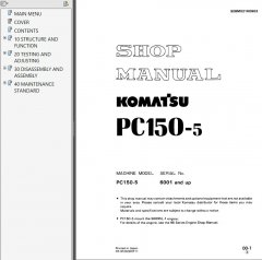 repair manuals Komatsu PC150-5 PC150-6K PC150LC-6K Hydraulic Excavators Shop Manuals PDF