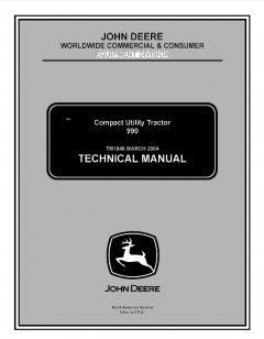 repair manuals John Deere 990 Compact Utility Tractor Technical Manual TM1848 PDF