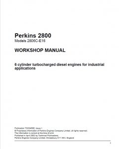 repair manuals Perkins 2800 Series 2806C-E16 Diesel Engines Workshop Manual PDF