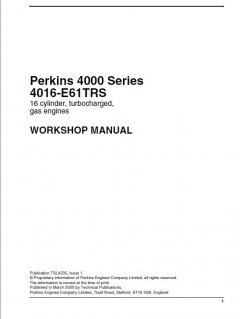 repair manuals Perkins 4016-E61TRS Engine Workshop Manual PDF