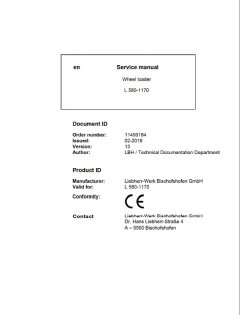 repair manuals Liebherr L580 - 1170 Wheel Loader Service Manual PDF