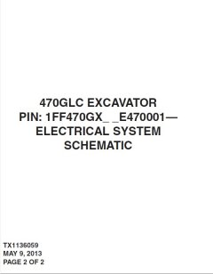 repair manuals John Deere 470GLC Excavator Electrical System Schematic Manual TX1136059 PDF
