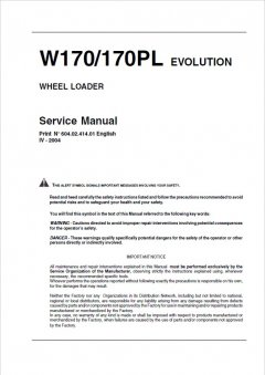 repair manuals Fiat Kobelco W170, 170PL Evolution Wheel Loader Service Manual PDF