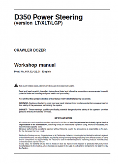 repair manuals Fiat Kobelco D350 PS (version LT/XLT/LGP) Crawler Dozer Workshop Manual PDF