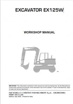 repair manuals Fiat Kobelco EX125W Excavator Workshop Manual PDF