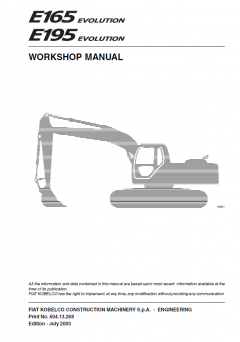 repair manuals Fiat Kobelco E165, E195 Evolution Crawler Excavator Workshop Manual PDF