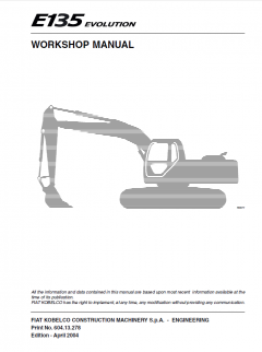 repair manuals Fiat Kobelco E135 Evolution Crawler Excavator Workshop Manual PDF