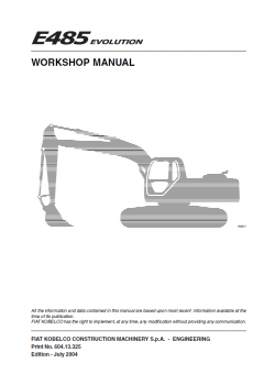 repair manuals Fiat Kobelco E485 Evolution Crawler Excavator Workshop Manual PDF