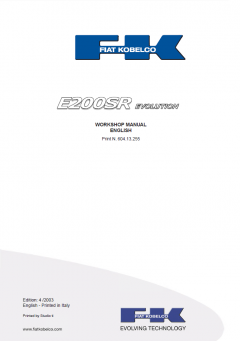 repair manuals Fiat Kobelco E200SR Evolution Excavator Workshop Manual PDF