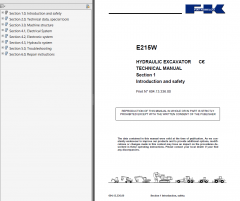 repair manuals Fiat Kobelco E215W Hydraulic Excavators Technical Manual PDF