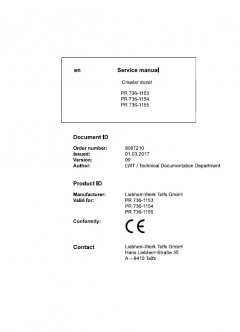 repair manuals Liebherr PR 736 - 1153, PR 736 - 1154, PR 736 - 1155 Crawler Dozers Service Manual PDF