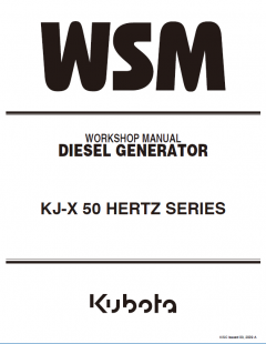 repair manuals Kubota KJ-X 50 Hertz Series Diesel Generator Workshop Manual PDF 9Y011-01832