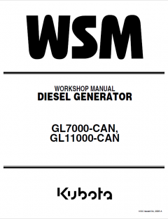 repair manuals Kubota GL7000-CAN, GL11000-CAN Diesel Generator Workshop Manual PDF 9Y011-03400