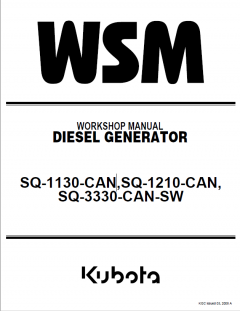 repair manuals Kubota SQ-1130-CAN, SQ-1210-CAN, SQ-3330-CAN-SW Diesel Generators Workshop Manual PDF 9Y111-01280