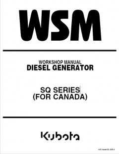 repair manuals Kubota SQ Series (For Canada) Diesel Generators Workshop Manual 9Y011-01981 PDF