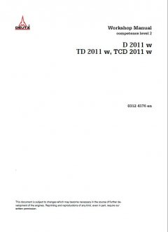 repair manuals Deutz D 2011 w & TD 2011 w & TCD 2011 w Workshop Manual PDF