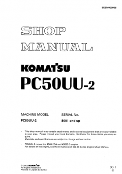 repair manuals Komatsu Hydraulic Excavator PC50UU-2 Shop Manual PDF
