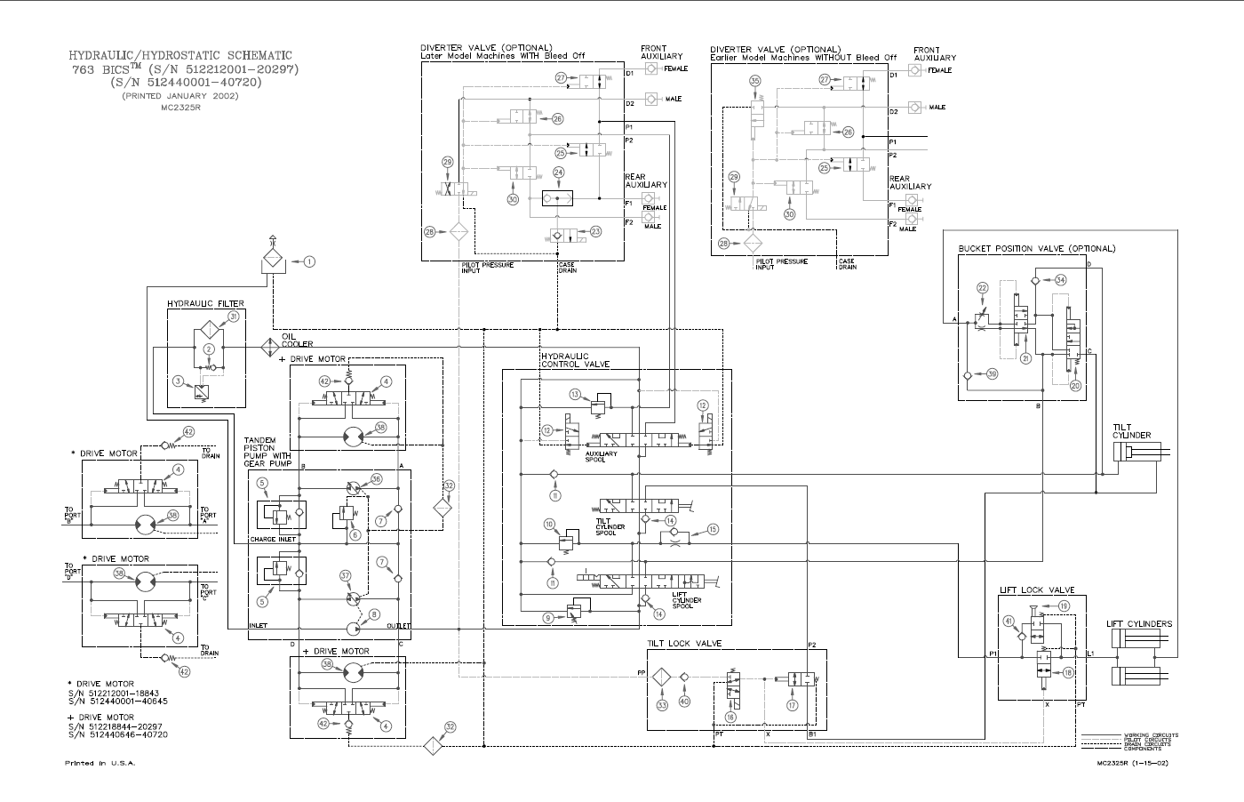Bobcat 763 hydraulic system diagram