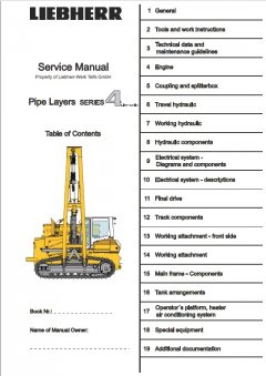 repair manuals Liebherr RL 44-64 Pipe Layers Series 4 Litronic Service Manual PDF