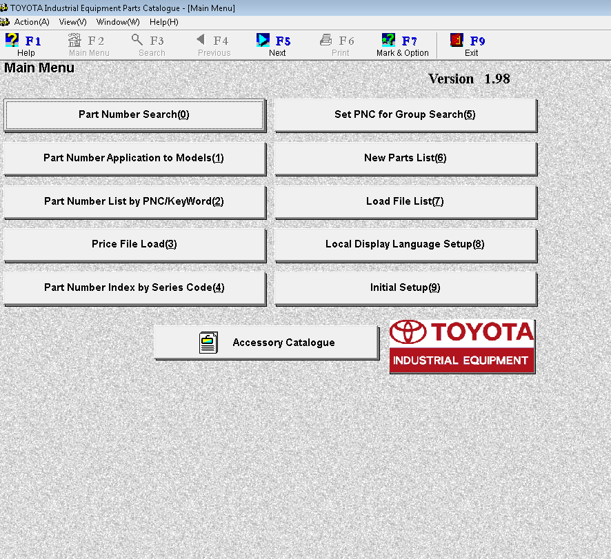 Toyota New Parts Online: Toyota Industrial Equipment V1.98 Parts Catalog