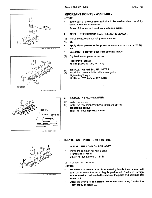 Hino Truck 2009 with J08E-TV, TW Engine Workshop Manual PDF