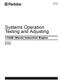 repair manuals Perkins Industrial Engine 1104D (Mech) Systems Operation Testing and Adjusting Manual
