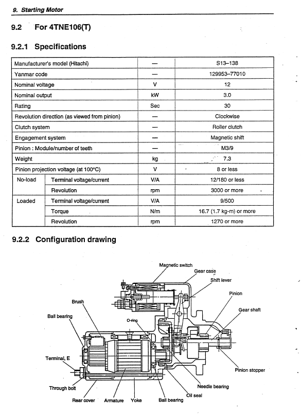 Yanmar Base Engine 4tne Series For Hyundai Equipment Pdf
