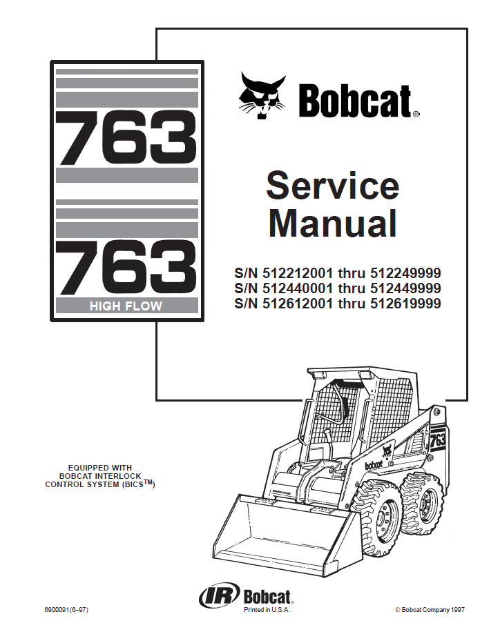 bobcat 763  u0026 763h high flow skid steer loader service