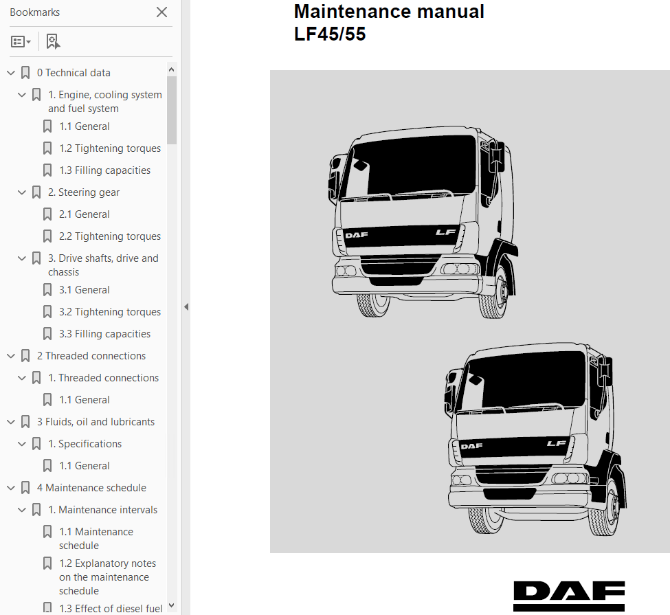 Daf Lf 45 55 Set Of Pdf Manual