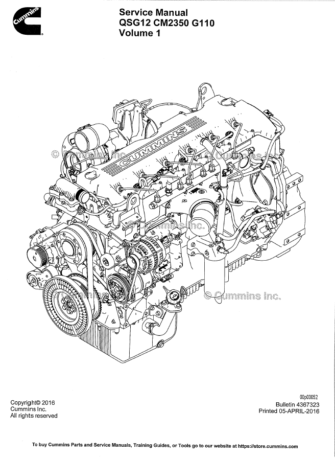 Cummins Engine Qsg12 Cm2350 G110 Service Manual Pdf Volume 1 Volume 2